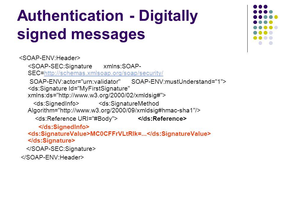 Authentication - Digitally signed messages <SOAP-SEC:Signature xmlns:SOAP- SEC=http://schemas.xmlsoap.org/soap/security/ http://schemas.xmlsoap.org/so