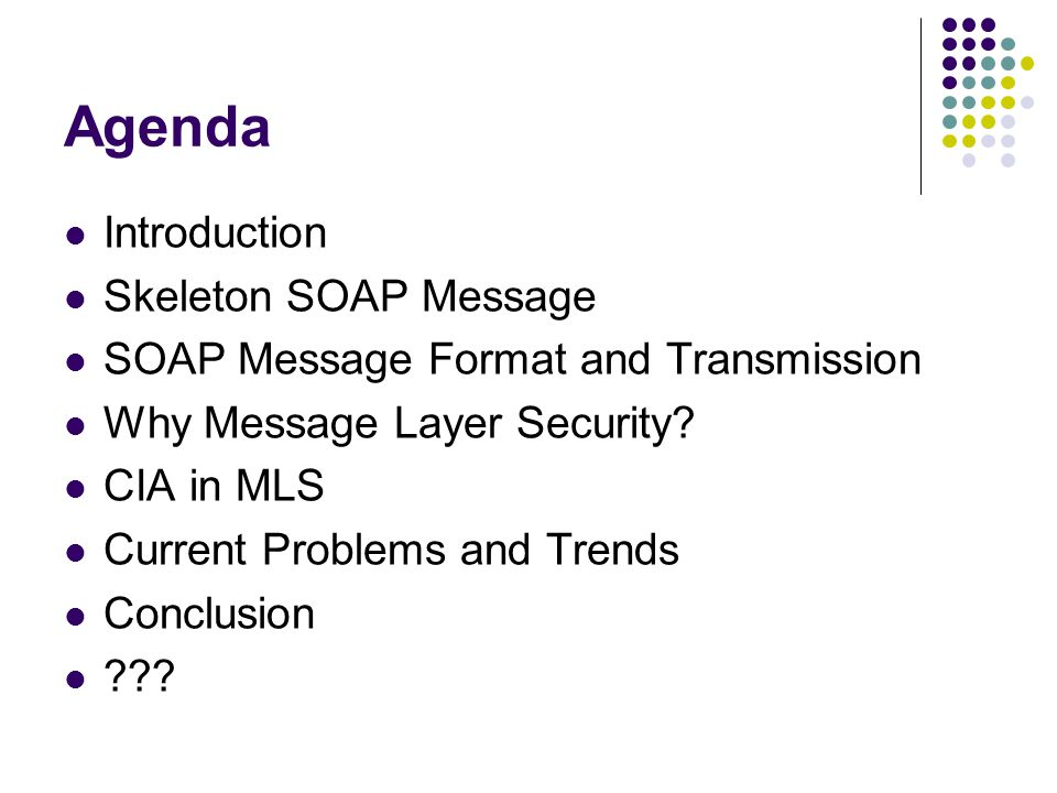 Agenda Introduction Skeleton SOAP Message SOAP Message Format and Transmission Why Message Layer Security.