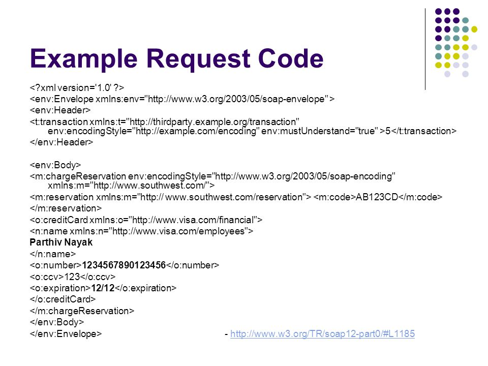 Example Request Code 5 AB123CD Parthiv Nayak 1234567890123456 123 12/12 - http://www.w3.org/TR/soap12-part0/#L1185http://www.w3.org/TR/soap12-part0/#L1185