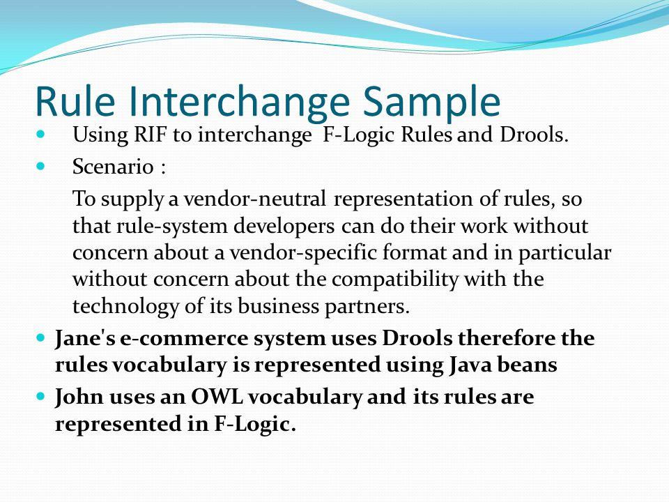 Rule Interchange Sample Using RIF to interchange F-Logic Rules and Drools.