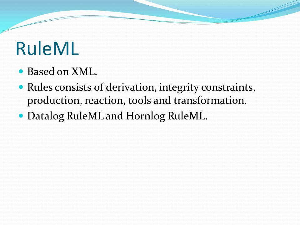 RuleML Based on XML.
