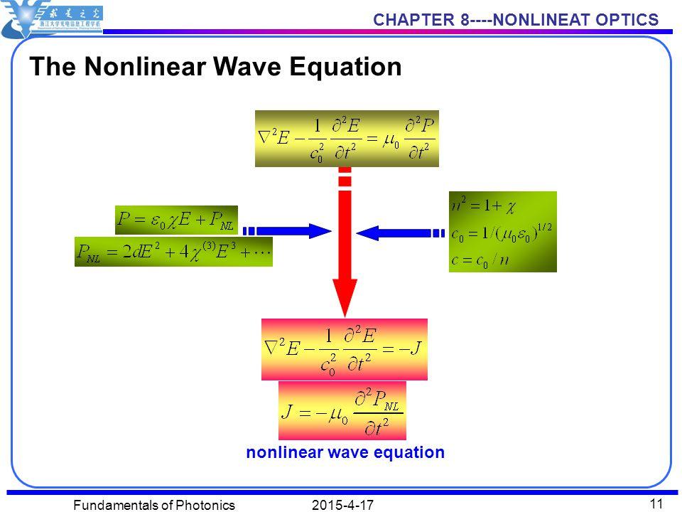 CHAPTER 8----NONLINEAT OPTICS 2015-4-17Fundamentals of Photonics 11 The Nonlinear Wave Equation nonlinear wave equation