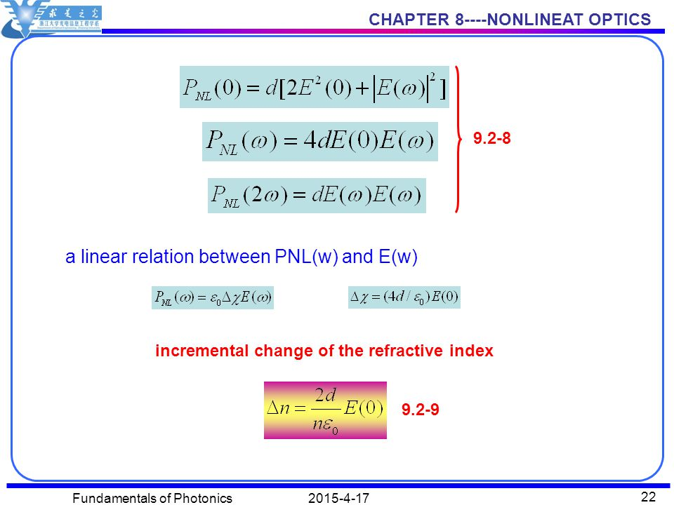 CHAPTER 8----NONLINEAT OPTICS 2015-4-17Fundamentals of Photonics 22 9.2-8 a linear relation between PNL(w) and E(w) incremental change of the refractive index 9.2-9