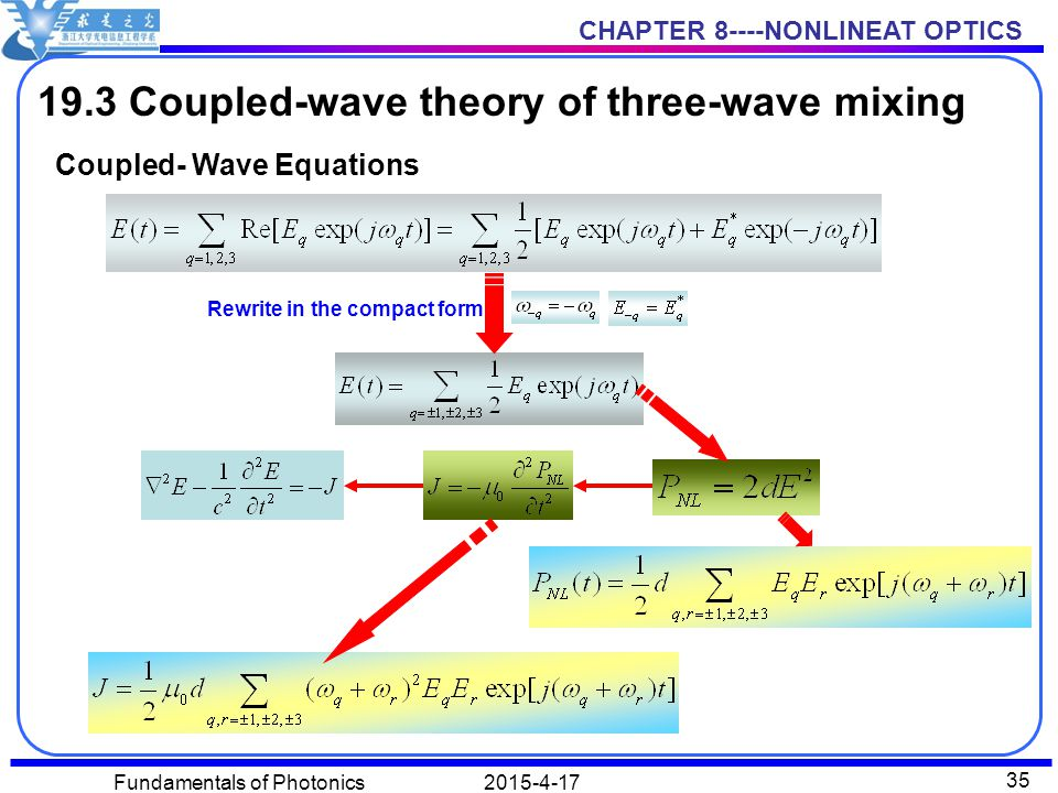 CHAPTER 8----NONLINEAT OPTICS 2015-4-17Fundamentals of Photonics 35 19.3 Coupled-wave theory of three-wave mixing Coupled- Wave Equations Rewrite in the compact form