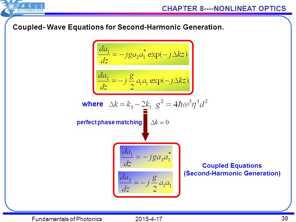 CHAPTER 8----NONLINEAT OPTICS 2015-4-17Fundamentals of Photonics 39 Coupled- Wave Equations for Second-Harmonic Generation.
