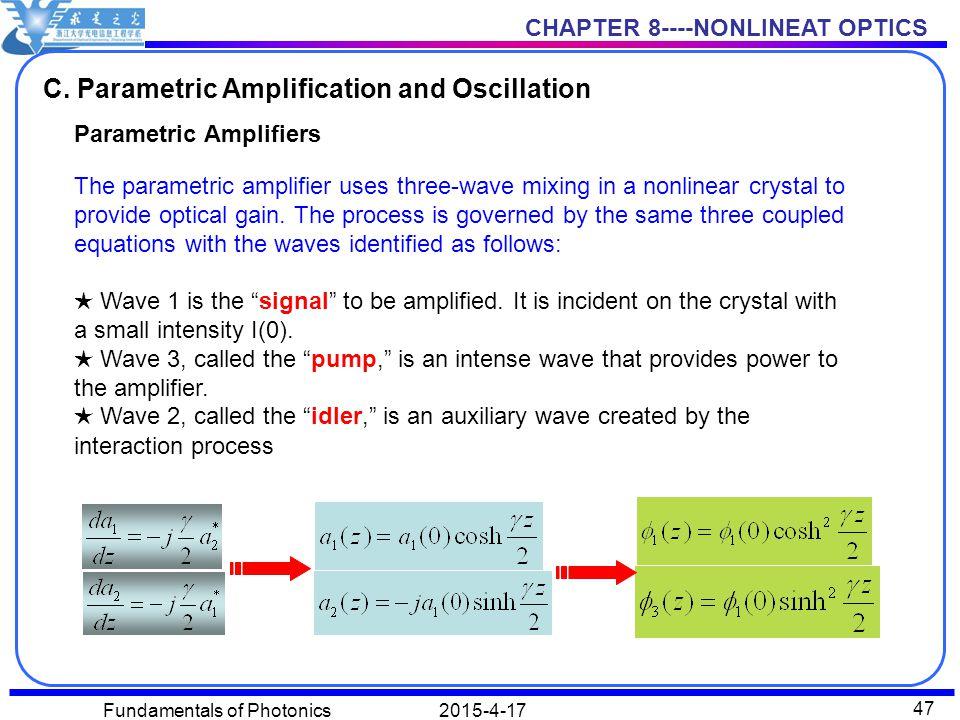 CHAPTER 8----NONLINEAT OPTICS 2015-4-17Fundamentals of Photonics 47 C. Parametric Amplification and Oscillation Parametric Amplifiers The parametric a