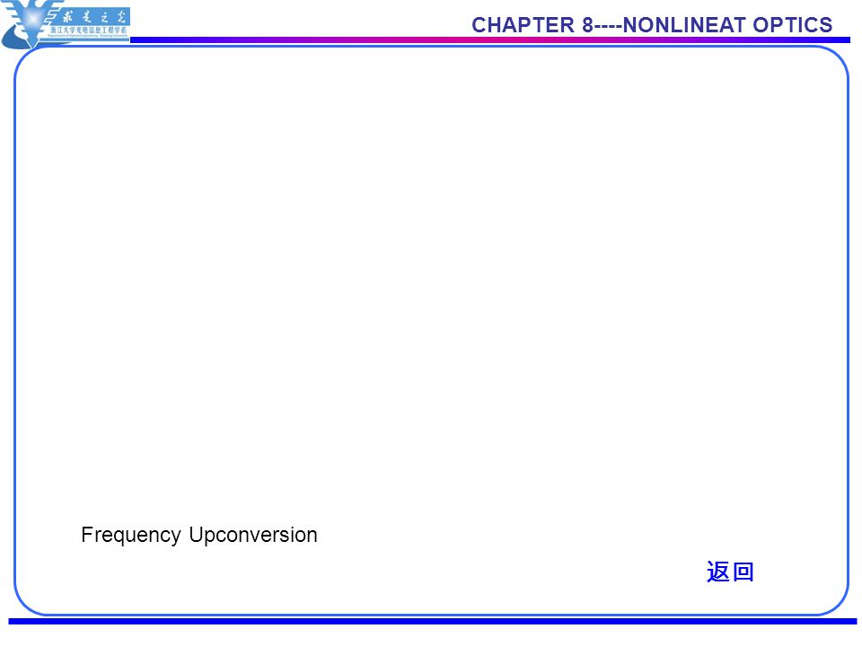 CHAPTER 8----NONLINEAT OPTICS Frequency Upconversion 返回