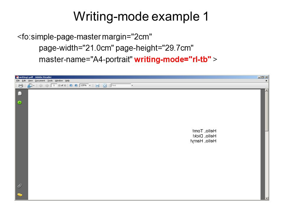 Writing-mode example 1 <fo:simple-page-master margin=