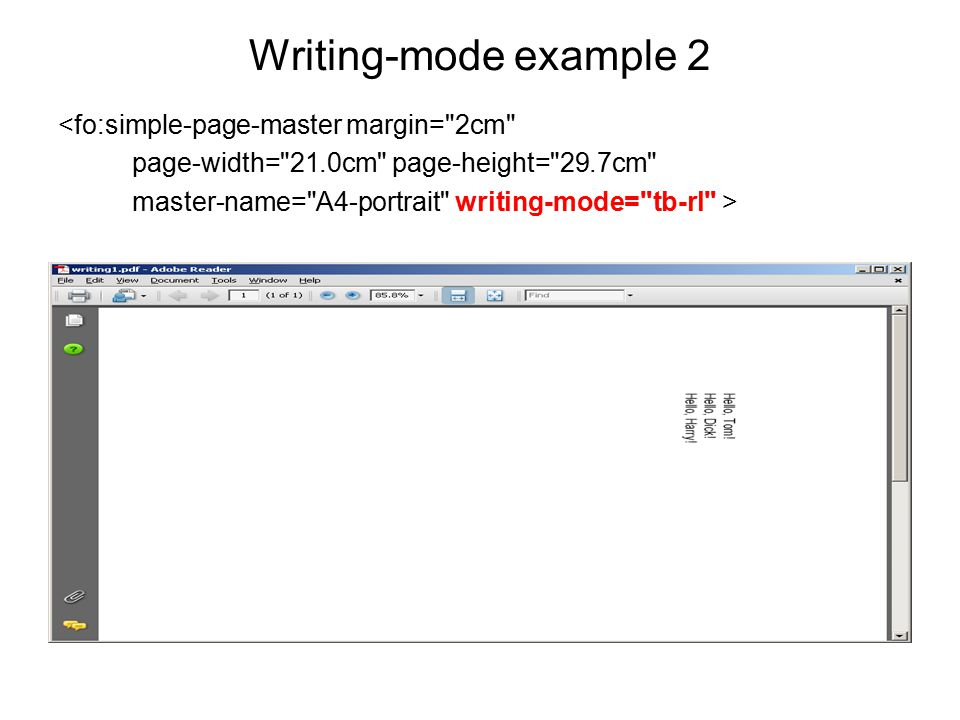 Writing-mode example 2 <fo:simple-page-master margin=