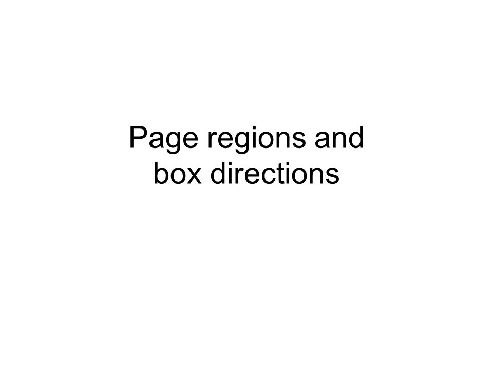 Page regions and box directions