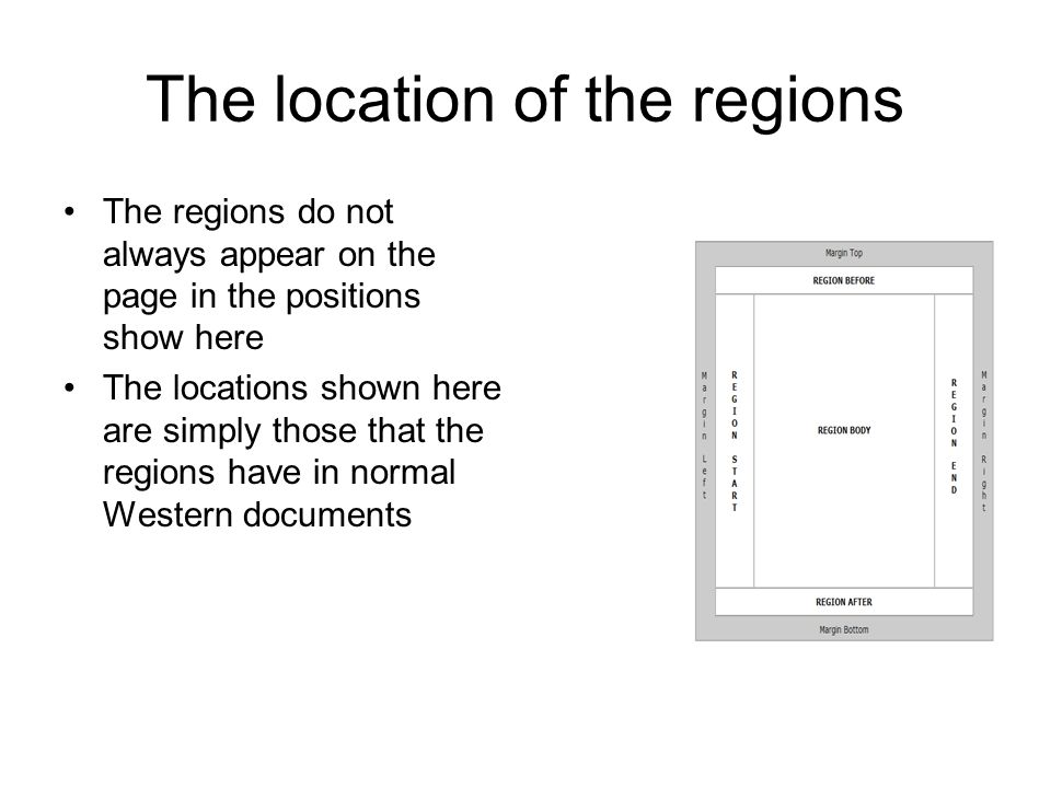 The location of the regions The regions do not always appear on the page in the positions show here The locations shown here are simply those that the
