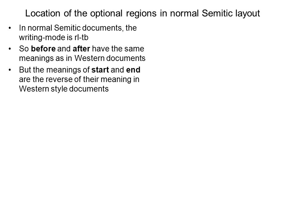 Location of the optional regions in normal Semitic layout In normal Semitic documents, the writing-mode is rl-tb So before and after have the same mea