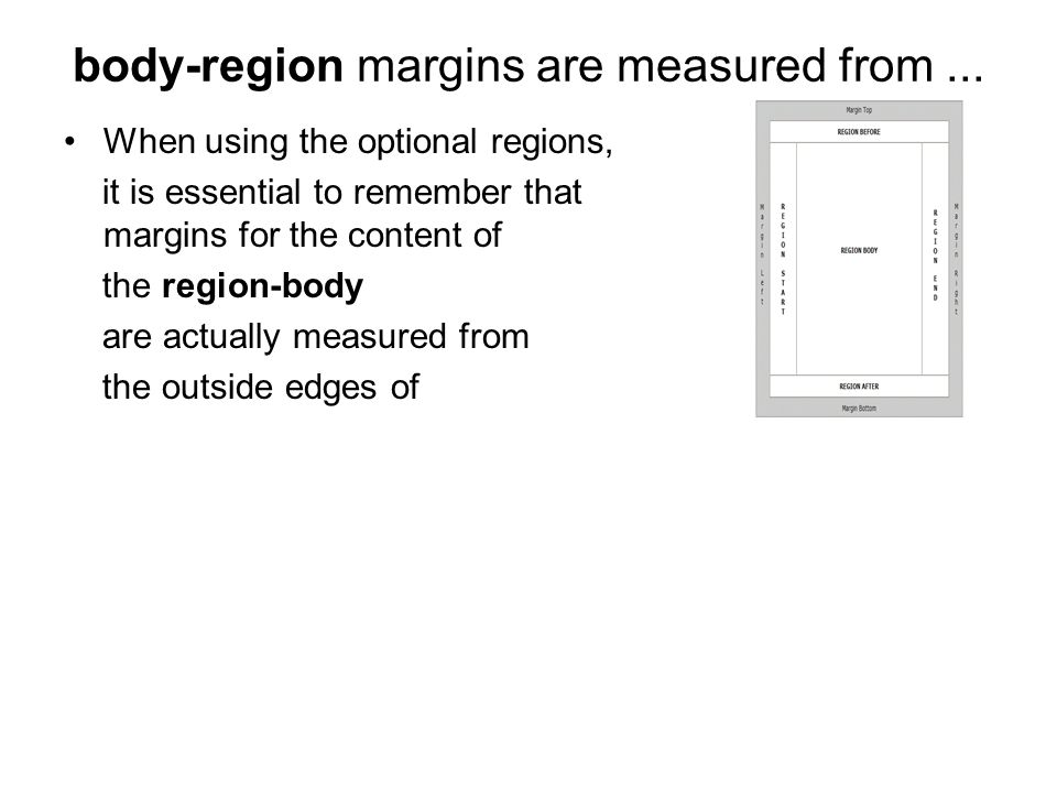 body-region margins are measured from... When using the optional regions, it is essential to remember that margins for the content of the region-body