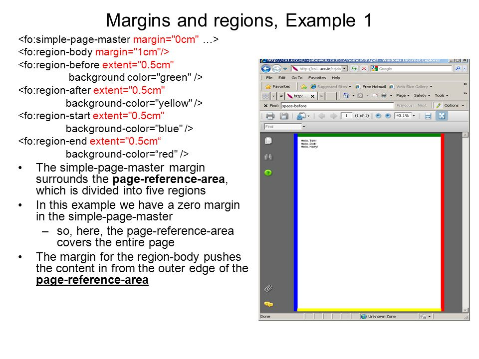 Margins and regions, Example 1 <fo:region-before extent=