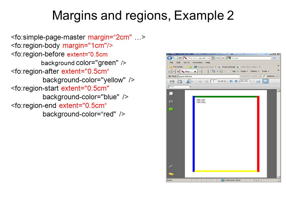 Margins and regions, Example 2 <fo:region-before extent=