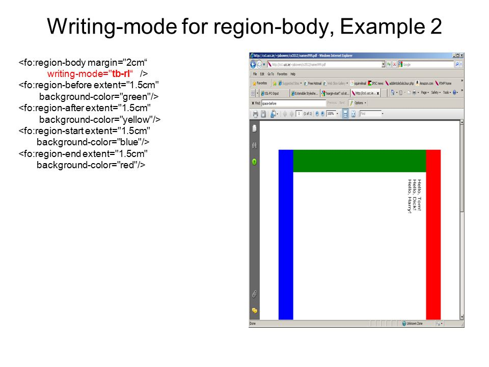 Writing-mode for region-body, Example 2 <fo:region-body margin=