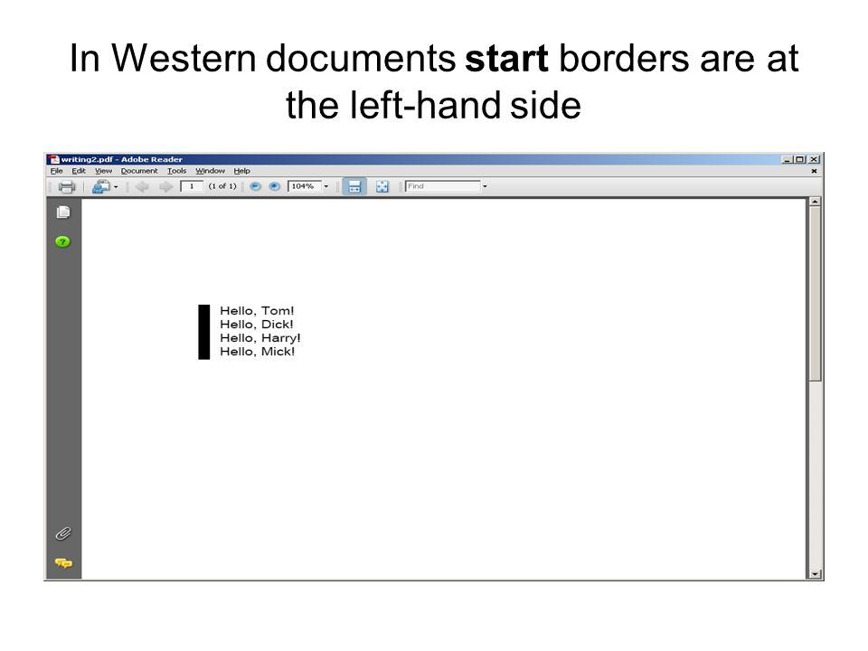 In Western documents start borders are at the left-hand side