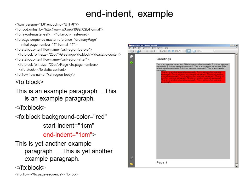 end-indent, example... <fo:page-sequence master-reference=