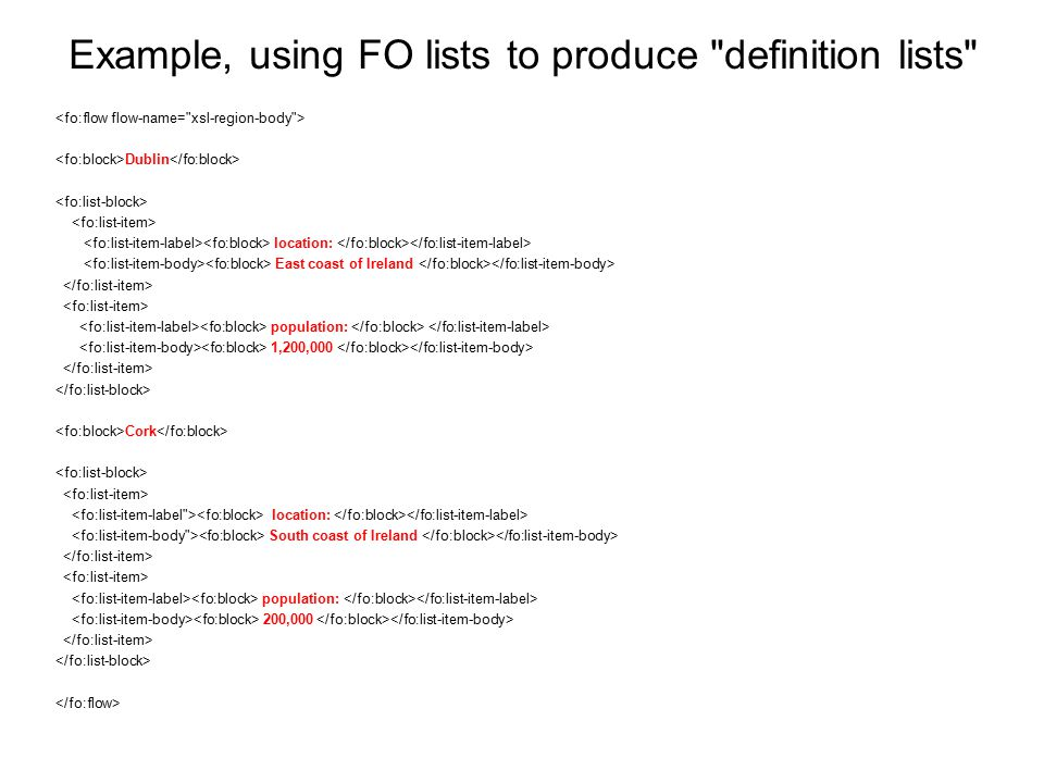Example, using FO lists to produce