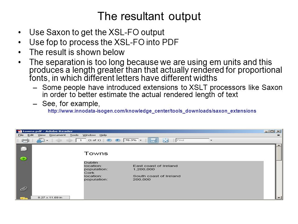 The resultant output Use Saxon to get the XSL-FO output Use fop to process the XSL-FO into PDF The result is shown below The separation is too long be