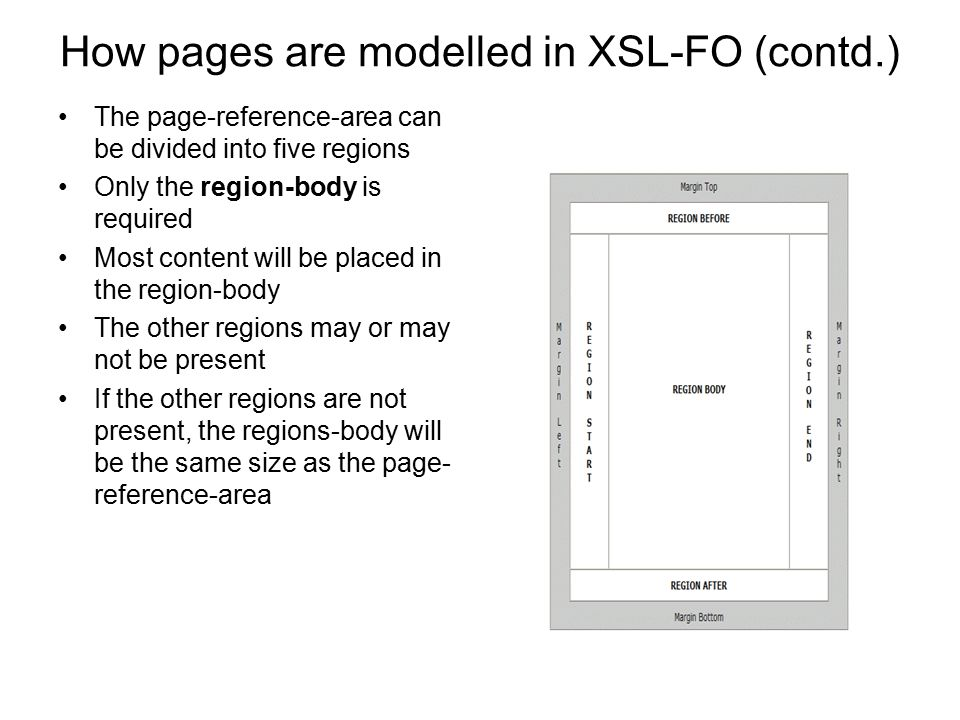How pages are modelled in XSL-FO (contd.) The page-reference-area can be divided into five regions Only the region-body is required Most content will