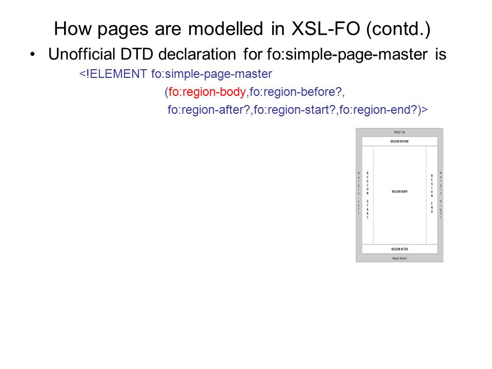 How pages are modelled in XSL-FO (contd.) Unofficial DTD declaration for fo:simple-page-master is <!ELEMENT fo:simple-page-master (fo:region-body,fo:r