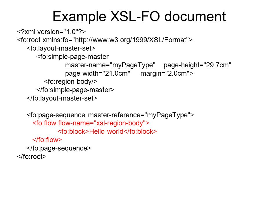 Example XSL-FO document <fo:simple-page-master master-name=