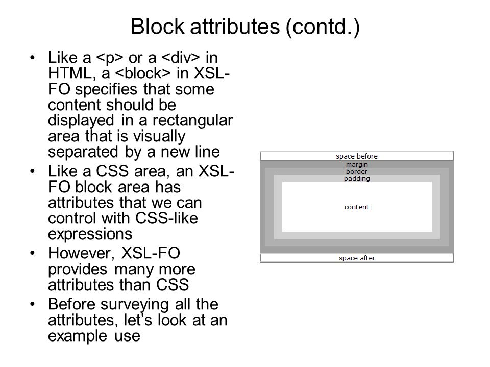 Block attributes (contd.) Like a or a in HTML, a in XSL- FO specifies that some content should be displayed in a rectangular area that is visually sep