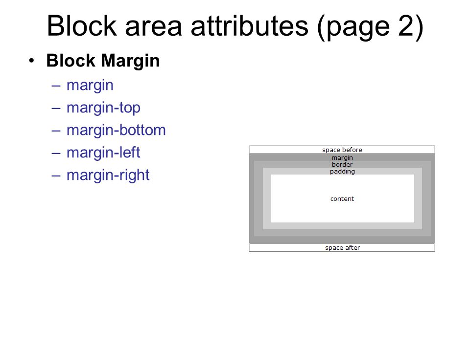 Block area attributes (page 2) Block Margin –margin –margin-top –margin-bottom –margin-left –margin-right
