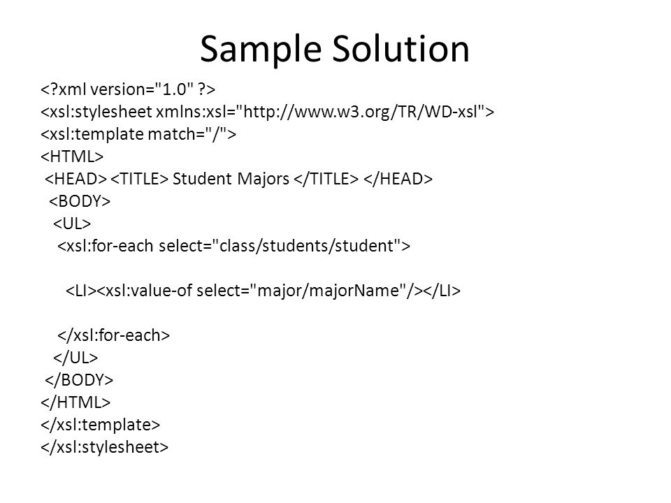 Sample Solution Student Majors