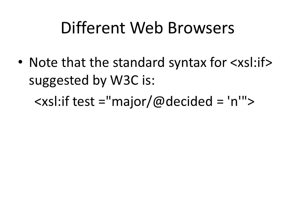 Different Web Browsers Note that the standard syntax for suggested by W3C is: