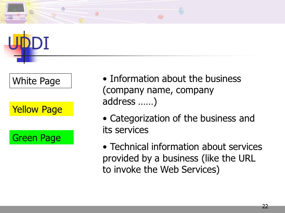 22 UDDI Information about the business (company name, company address ……) Categorization of the business and its services Technical information about