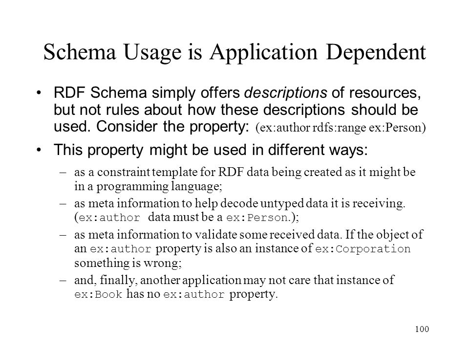 100 Schema Usage is Application Dependent RDF Schema simply offers descriptions of resources, but not rules about how these descriptions should be used.