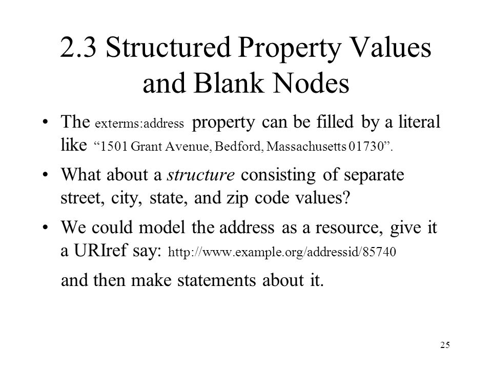 25 2.3 Structured Property Values and Blank Nodes The exterms:address property can be filled by a literal like 1501 Grant Avenue, Bedford, Massachusetts 01730 .