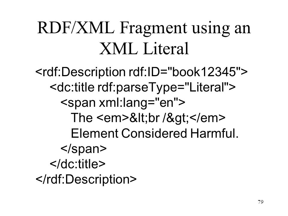 79 RDF/XML Fragment using an XML Literal The <br /> Element Considered Harmful.
