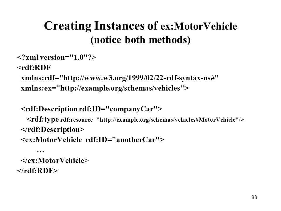 88 Creating Instances of ex:MotorVehicle (notice both methods) <rdf:RDF xmlns:rdf= http://www.w3.org/1999/02/22-rdf-syntax-ns# xmlns:ex= http://example.org/schemas/vehicles > …
