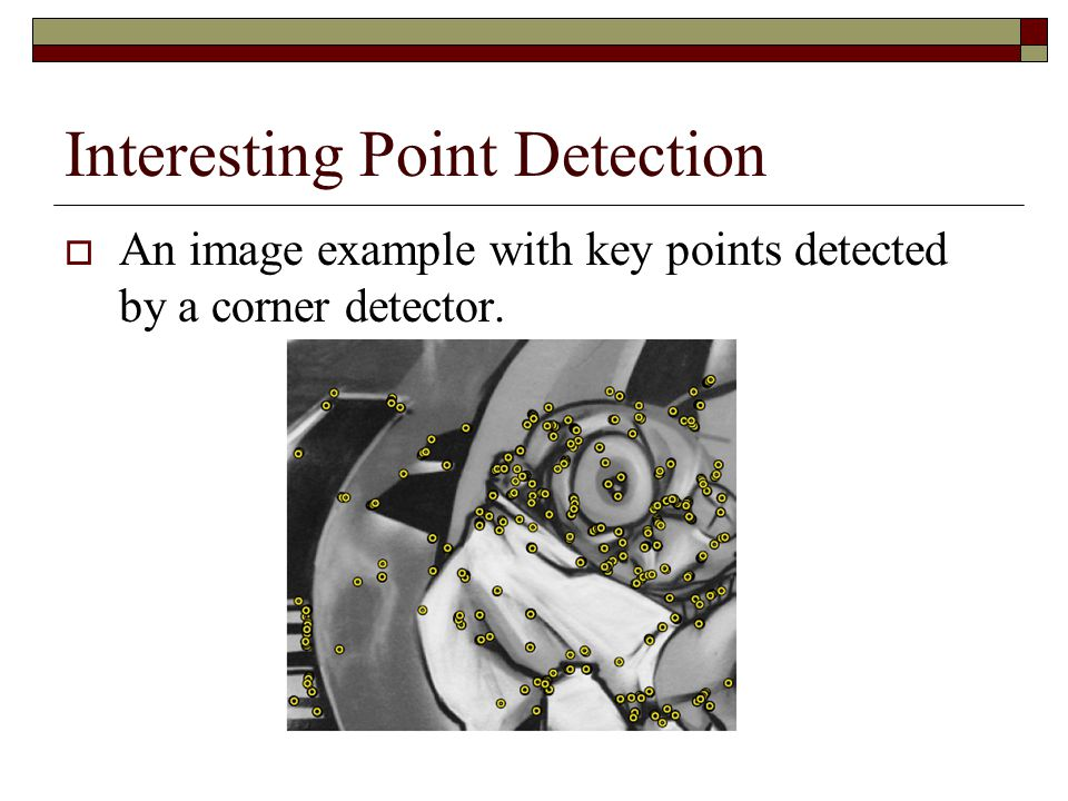 Interesting Point Detection  An image example with key points detected by a corner detector.