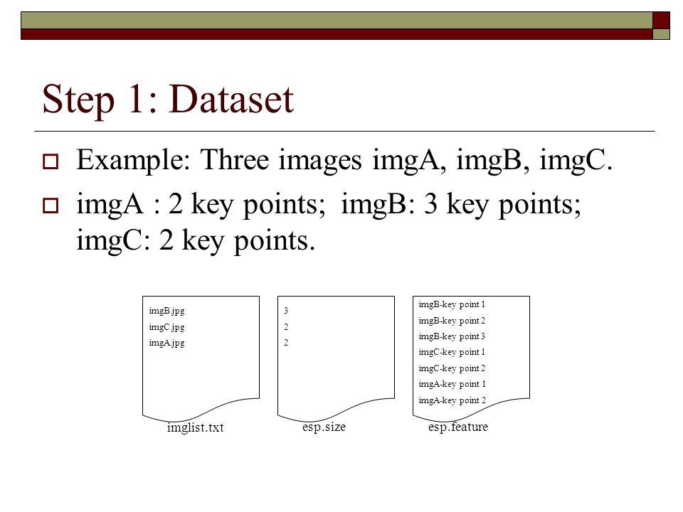Step 1: Dataset  Example: Three images imgA, imgB, imgC.  imgA : 2 key points; imgB: 3 key points; imgC: 2 key points. imglist.txt esp.size esp.feat