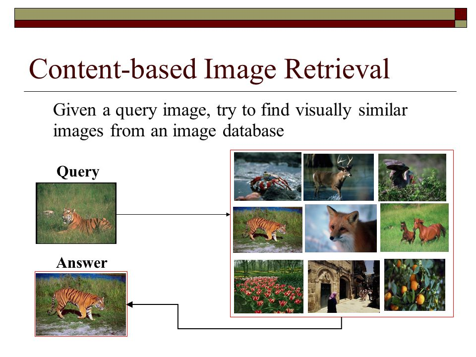 Content-based Image Retrieval Given a query image, try to find visually similar images from an image database Image Database Answer Query