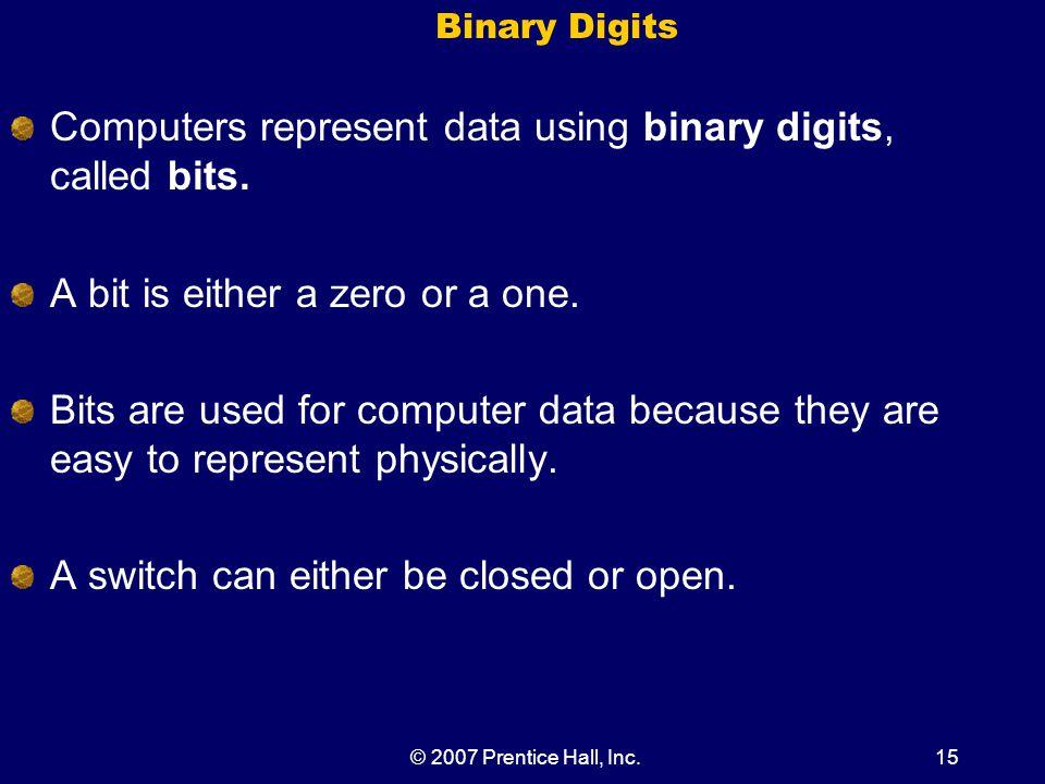 © 2007 Prentice Hall, Inc.15 Binary Digits Computers represent data using binary digits, called bits.