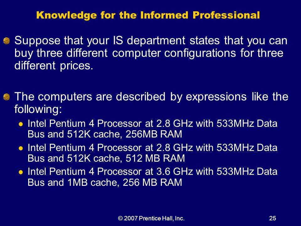 © 2007 Prentice Hall, Inc.25 Knowledge for the Informed Professional Suppose that your IS department states that you can buy three different computer configurations for three different prices.
