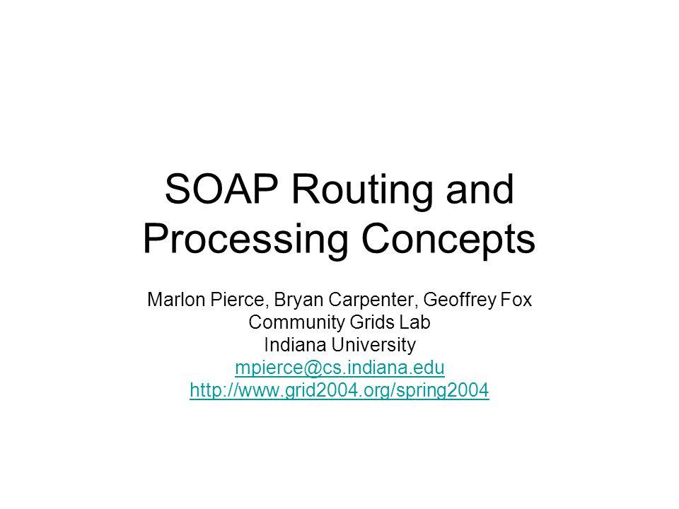 SOAP Routing and Processing Concepts Marlon Pierce, Bryan Carpenter, Geoffrey Fox Community Grids Lab Indiana University mpierce@cs.indiana.edu http:/