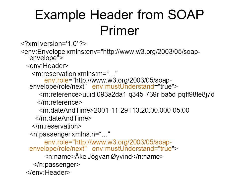 Example Header from SOAP Primer uuid:093a2da1-q345-739r-ba5d-pqff98fe8j7d 2001-11-29T13:20:00.000-05:00 <n:passenger xmlns:n= … env:role= http://www.w3.org/2003/05/soap- envelope/role/next env:mustUnderstand= true > Åke Jógvan Øyvind