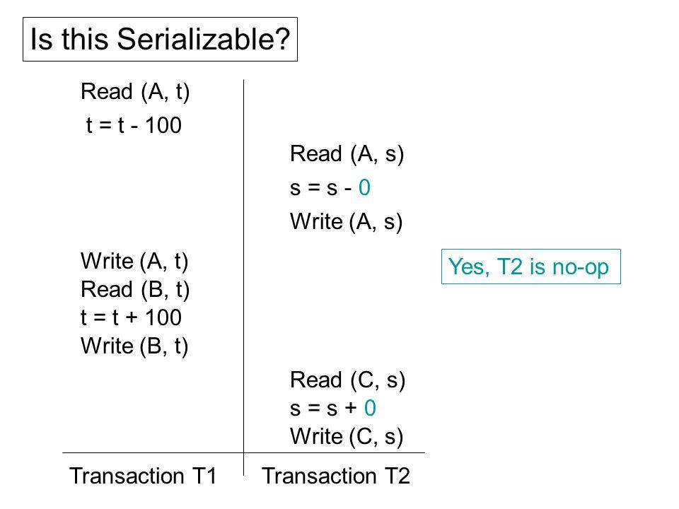 Read (A, t) t = t - 100 Write (A, t) Read (B, t) t = t + 100 Write (B, t) Read (A, s) s = s - 0 Write (A, s) Read (C, s) s = s + 0 Write (C, s) Is this Serializable.