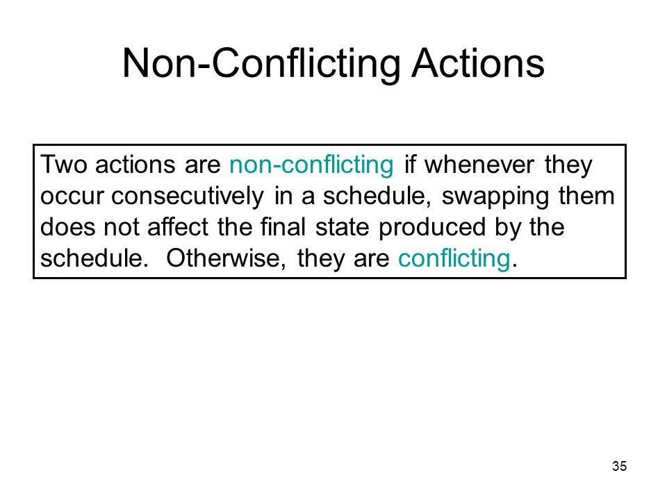 35 Non-Conflicting Actions Two actions are non-conflicting if whenever they occur consecutively in a schedule, swapping them does not affect the final