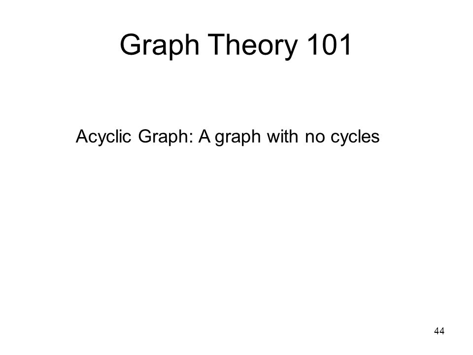 44 Graph Theory 101 Acyclic Graph: A graph with no cycles