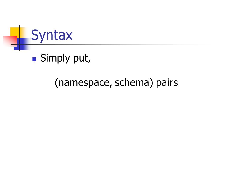 Syntax Simply put, (namespace, schema) pairs