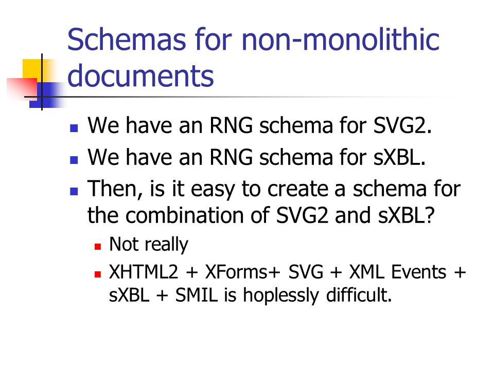Schemas for non-monolithic documents We have an RNG schema for SVG2.