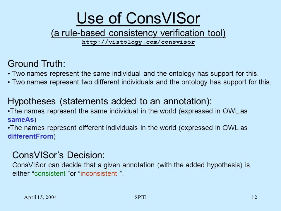 April 15, 2004SPIE12 Use of ConsVISor (a rule-based consistency verification tool) http://vistology.com/consvisor Ground Truth: Two names represent the same individual and the ontology has support for this.
