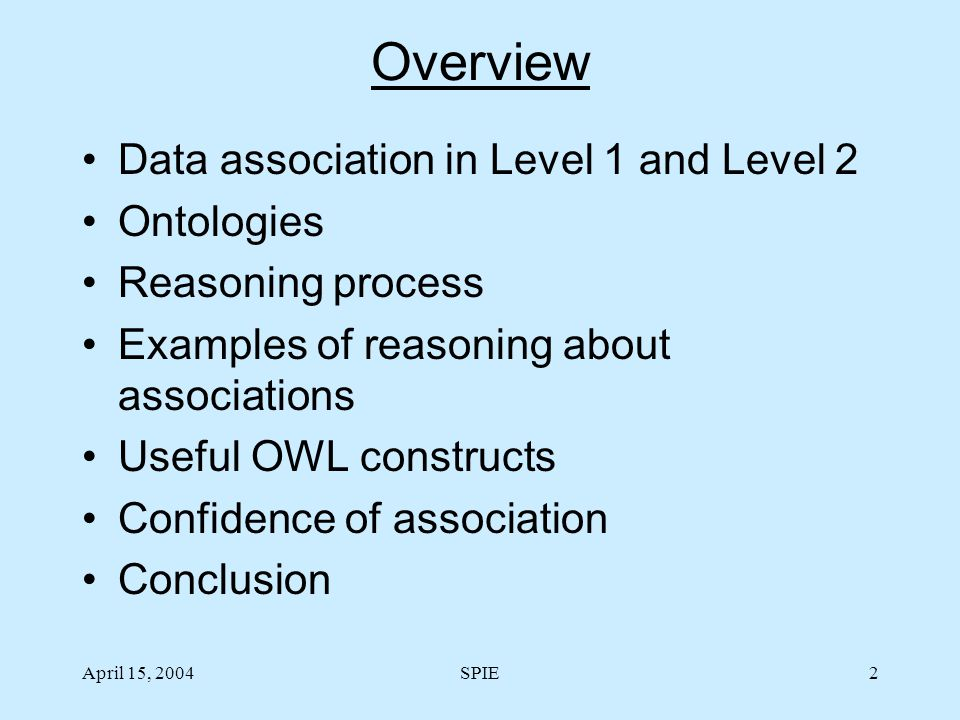 April 15, 2004SPIE2 Overview Data association in Level 1 and Level 2 Ontologies Reasoning process Examples of reasoning about associations Useful OWL constructs Confidence of association Conclusion